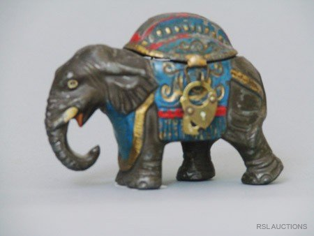 15: Elephant with Howdah, Small German Spelter Still Ba