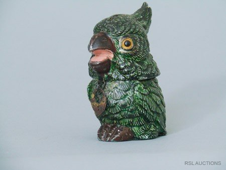 19: Exotic parrot German Spelter Still Bank