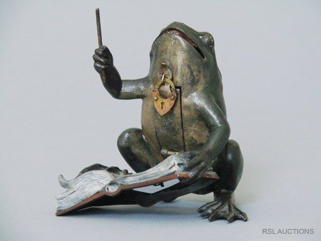 20: The Frog Conductor German Spelter Still Bank
