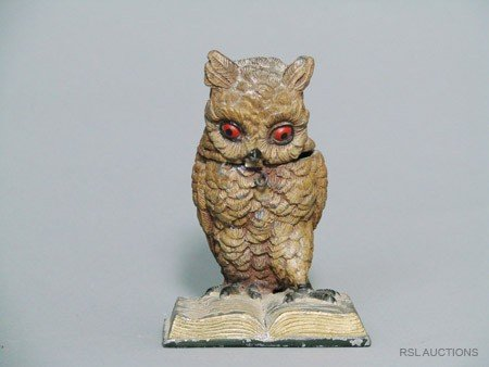 21: Owl Reading a Book German Spelter Still Bank