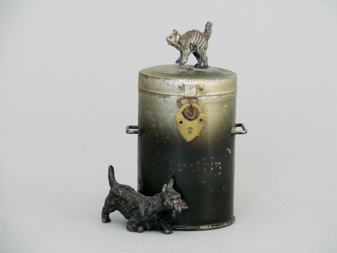 8: Cat atop Dustbin with Scottie Dog at Base