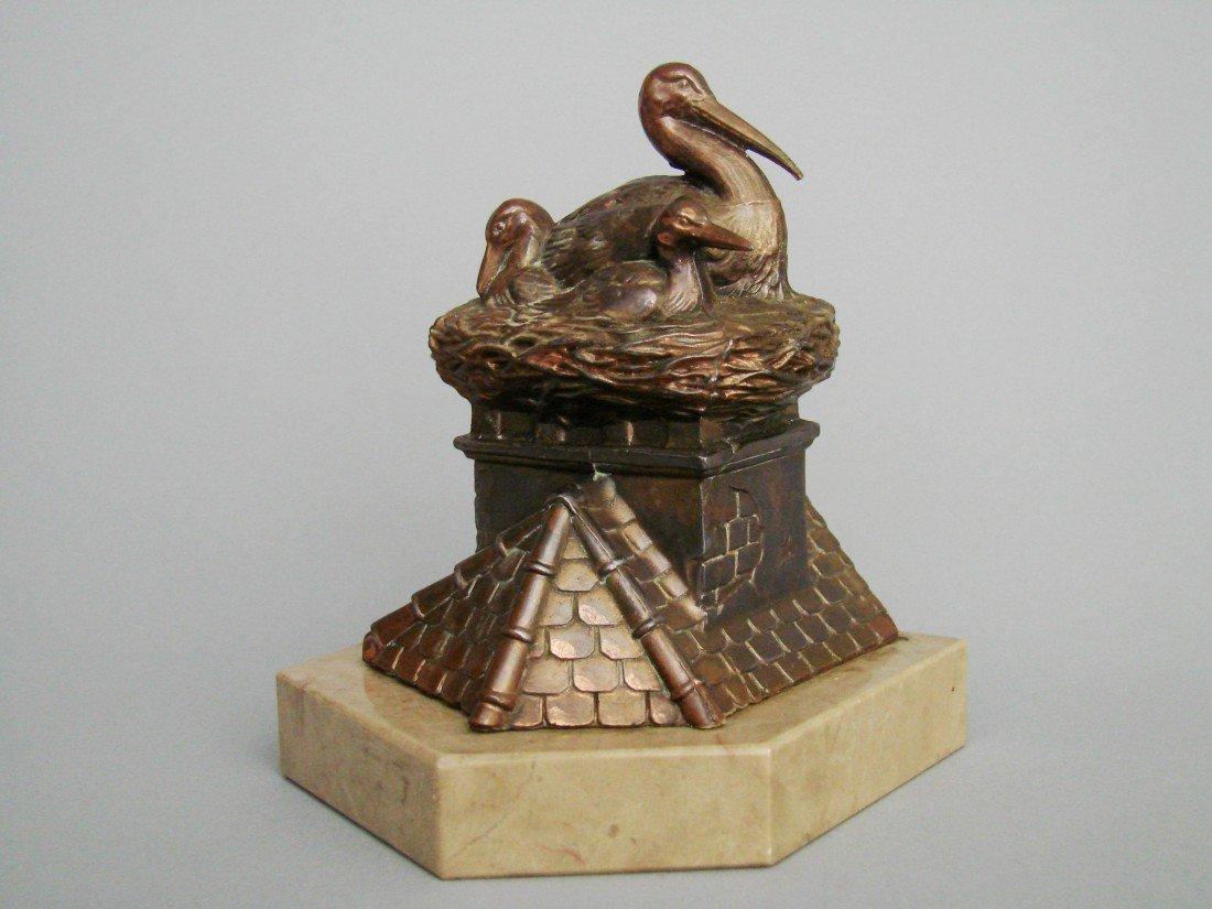 17:  Stork on Nest, Mounted to Onyx Base