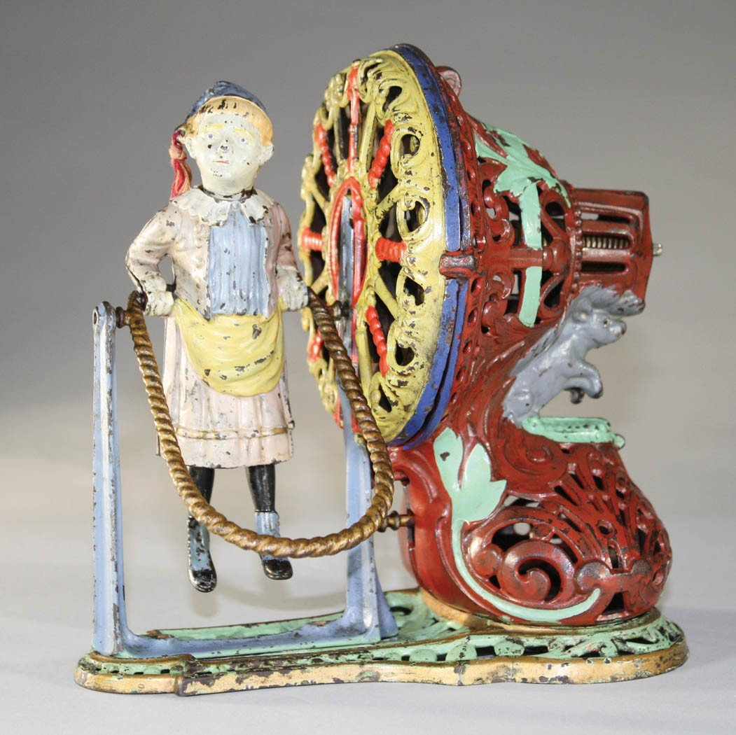 454: Girl Skipping Rope Mechanical Bank