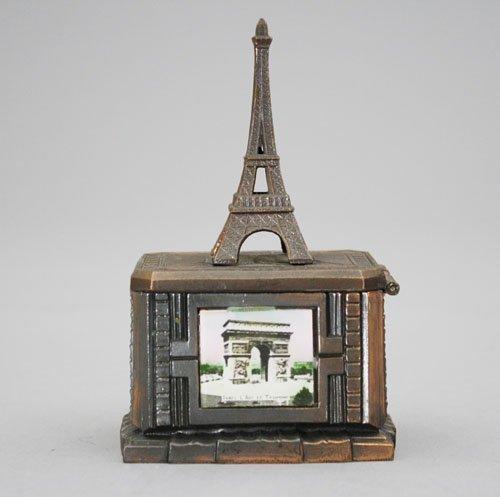 21: Eiffel Tower on Pedestal Base Silver Lead Bank
