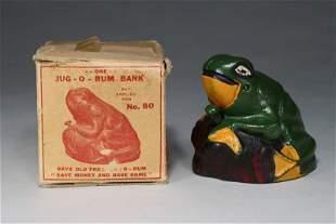 Frog on Rock with Box Mechanical Bank
