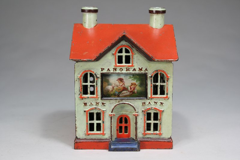 Panorama, Green with Red Roof Mechanical Bank