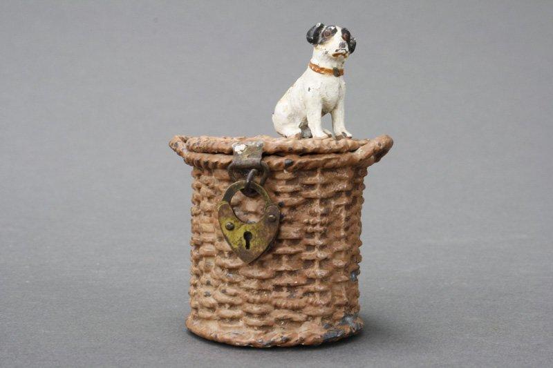 Jack Russell Terrier on Basket Spelter Still Bank