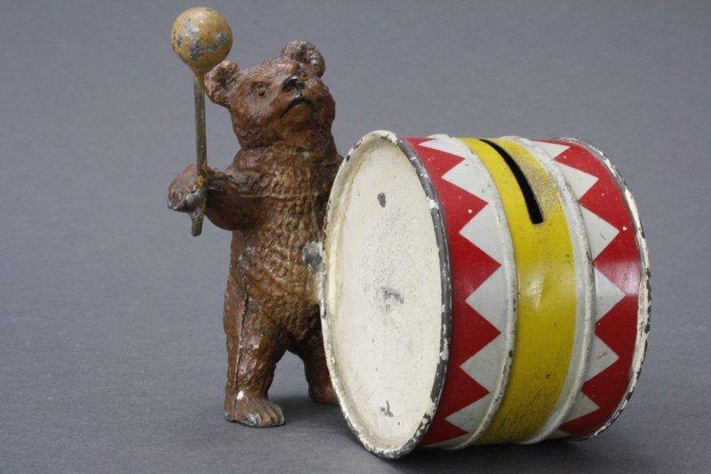 Bear Playing Drum Spelter Still Bank