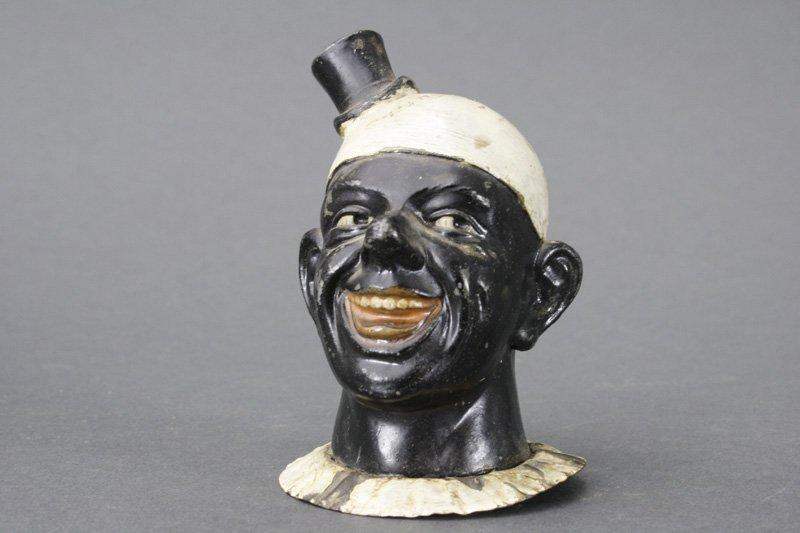 Black Clown Bust Spelter Still Bank