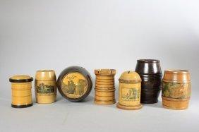 Seven Wooden Barrel / Cylinder Banks Still Bank