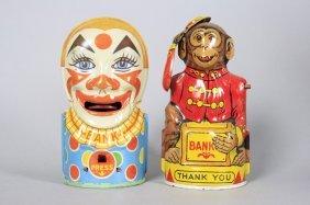 Clown / Monkey Tips Hat Mechanical Bank
