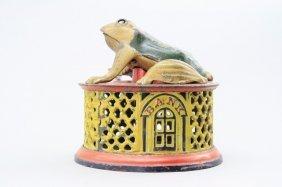 Frog On Lattice - Yellow Base Mechanical Bank
