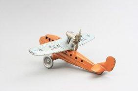 Seagull Airplane, Orange And Light Blue Cast Iron