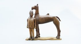 Camel With Egyptian Man Carving