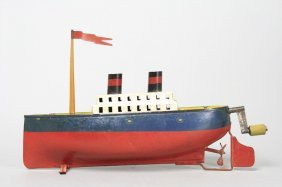 Two Funnel Ocean Liner With Box
