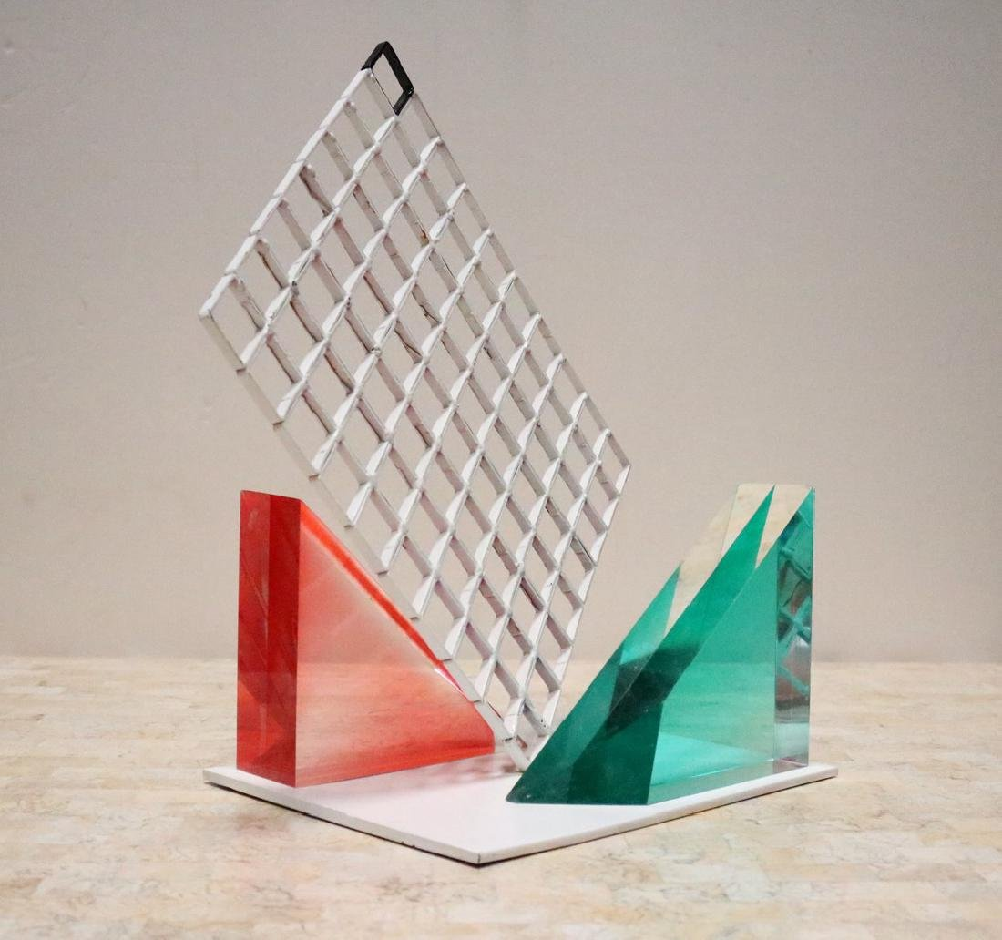 Unusual 80s Lucite Block and Metal Grid Sculpture