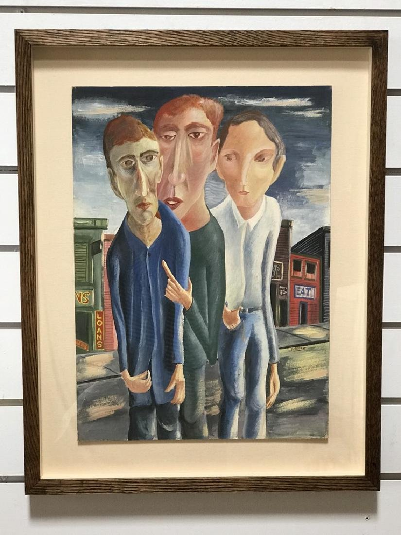 Three Men Gouache Painting by David Segel