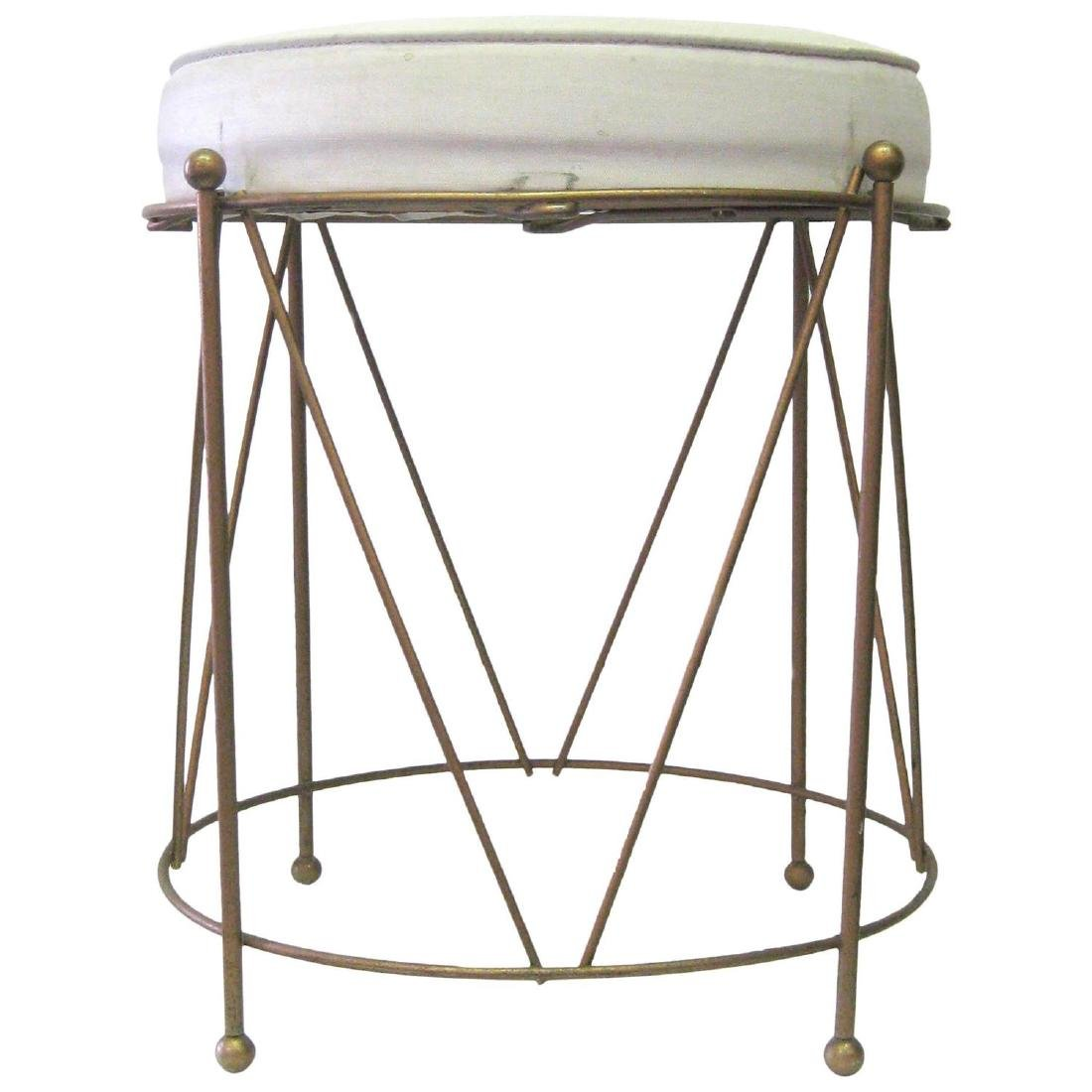 Jansen Style Stool in Brass with White Cushion
