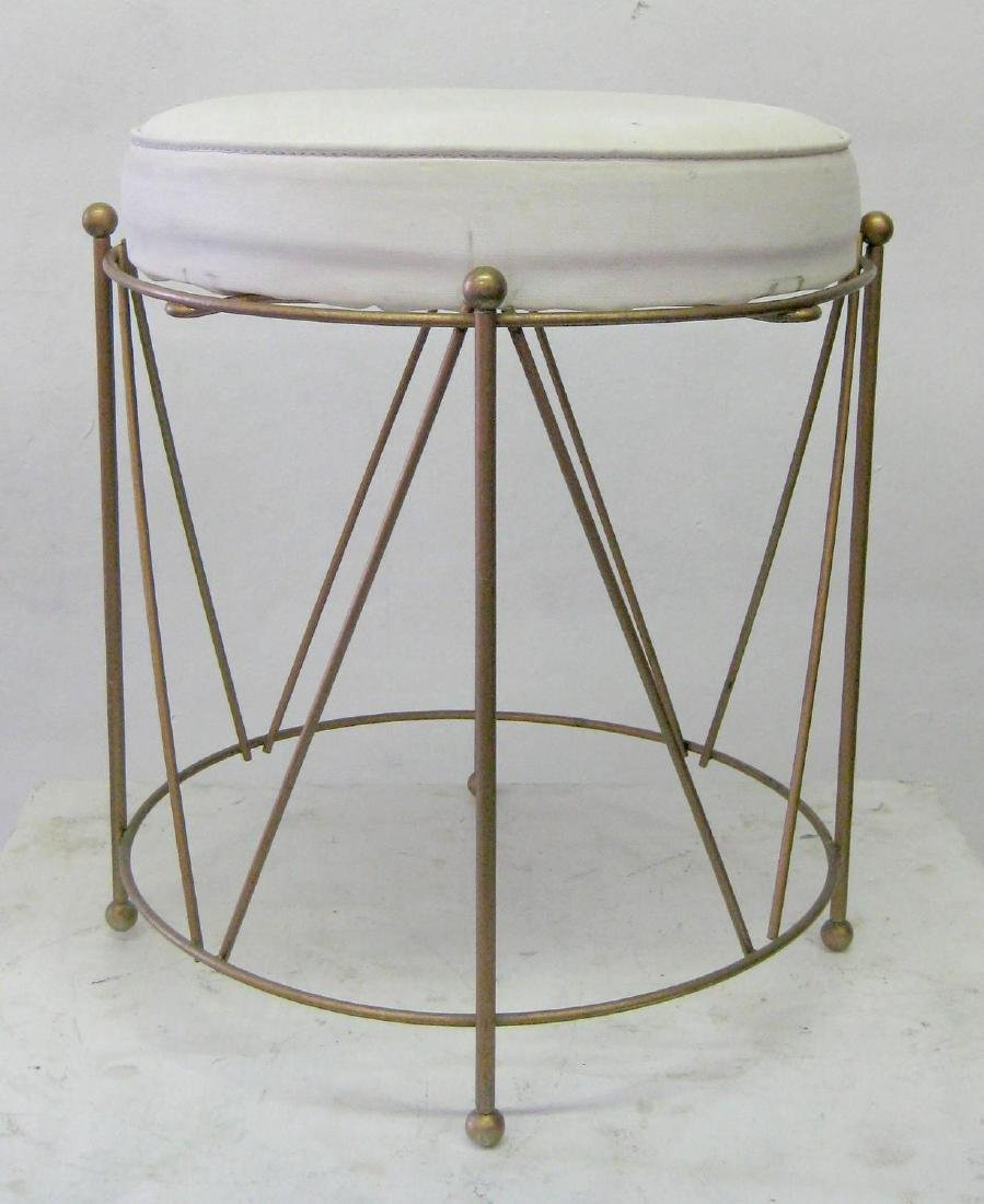 Jansen Style Stool in Brass with White Cushion - 2
