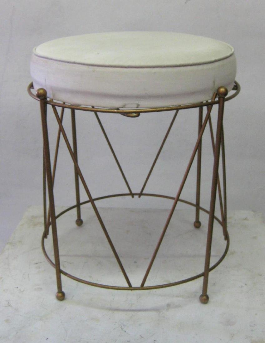 Jansen Style Stool in Brass with White Cushion - 3