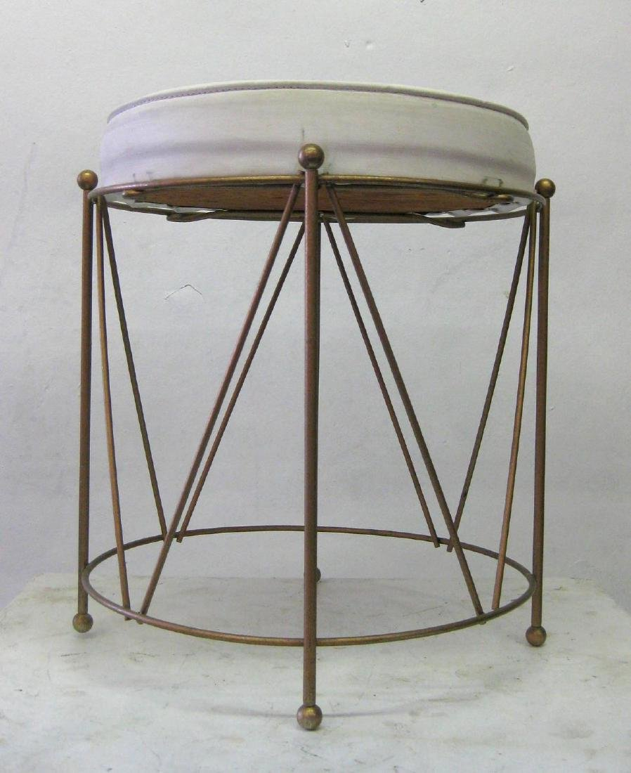 Jansen Style Stool in Brass with White Cushion - 4