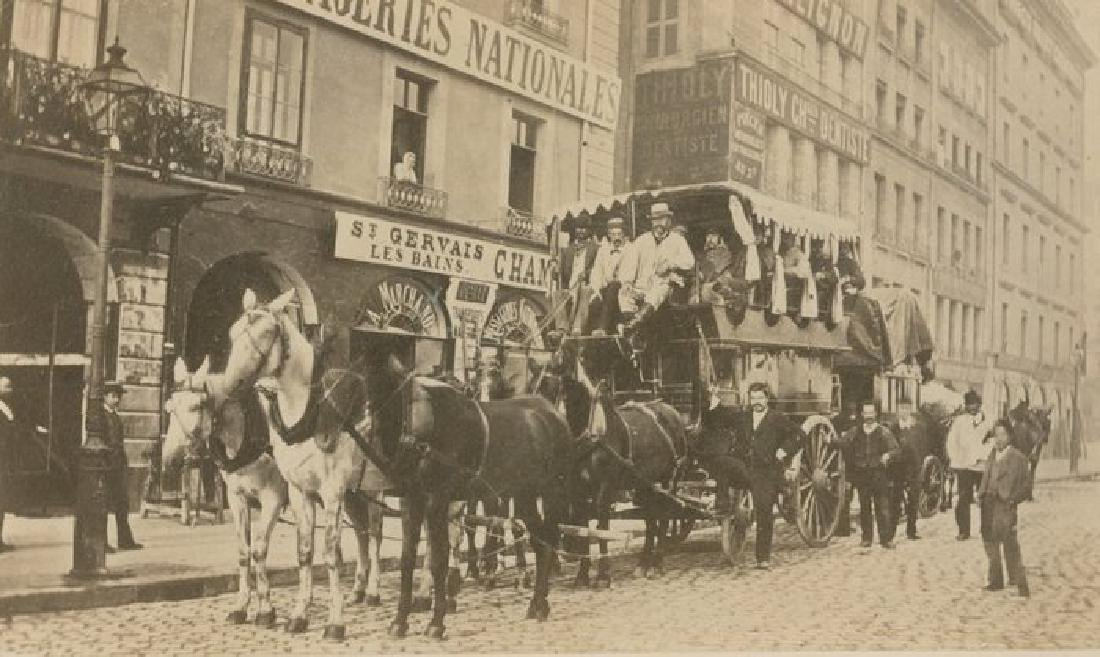The Coach leaving for Chamonix, France. c1880