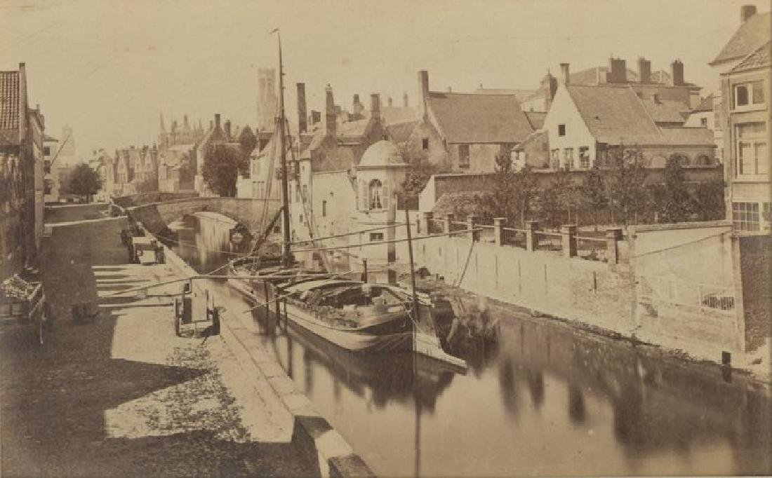 Barge on a Canal, Bruges, Belgium, c1875