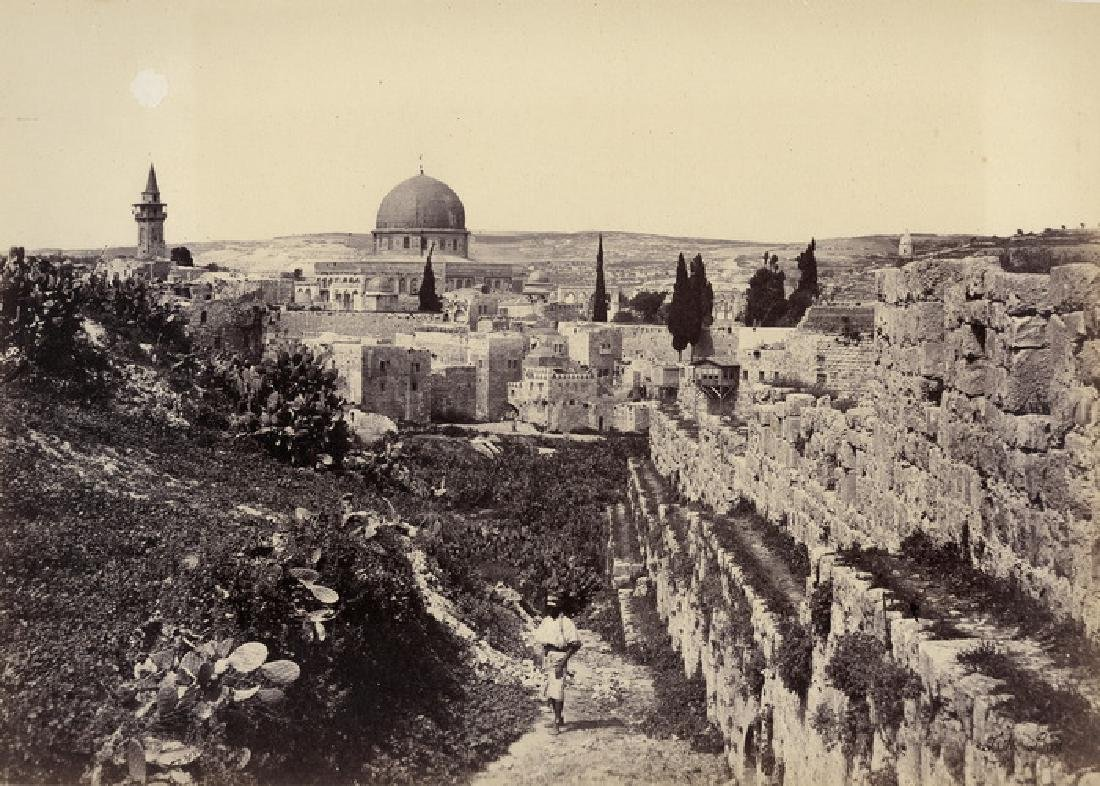 Jerusalem, the Mosque of Omar and the City Walls. c1860