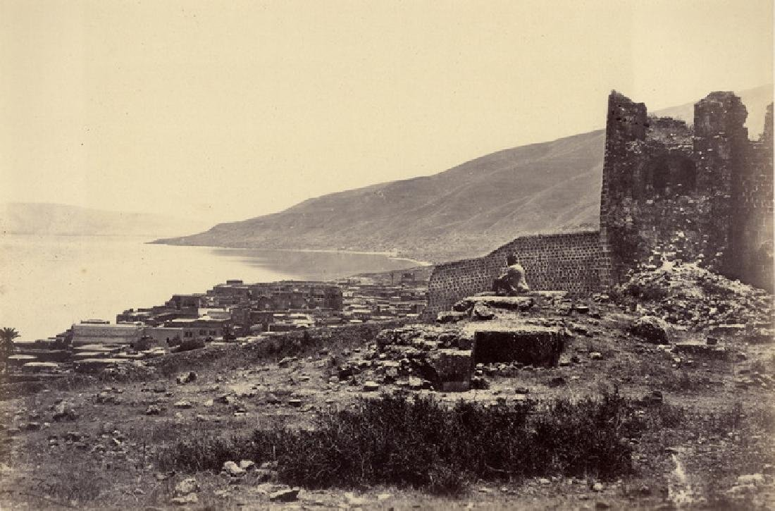 The Town and Lake of Tiberias. C1860