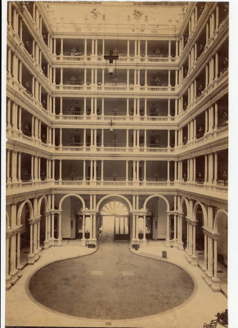 2 Views of the Interior Court of the Palace Hotel, San