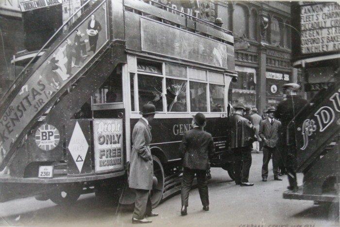 Bus damaged in General Strike. C1926