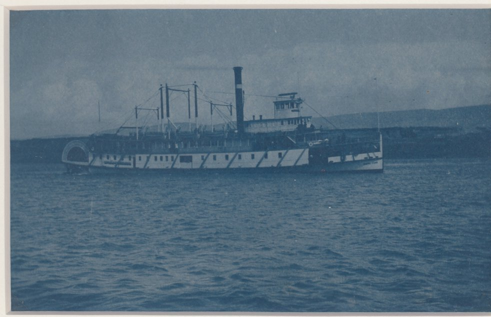 Cyanotype of an American Paddle Steamer. c1920