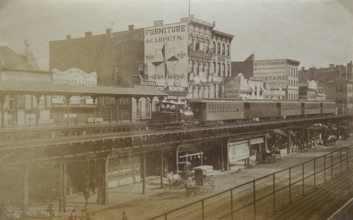 The New York El at the Bowery. C1880.