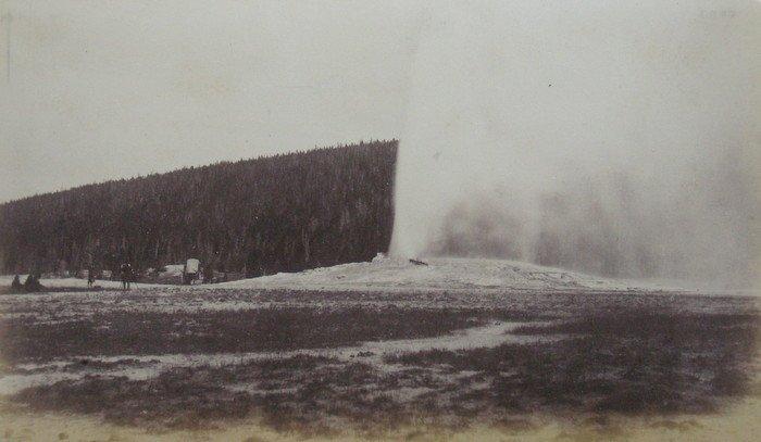 Old Faithful Erupting. C1870