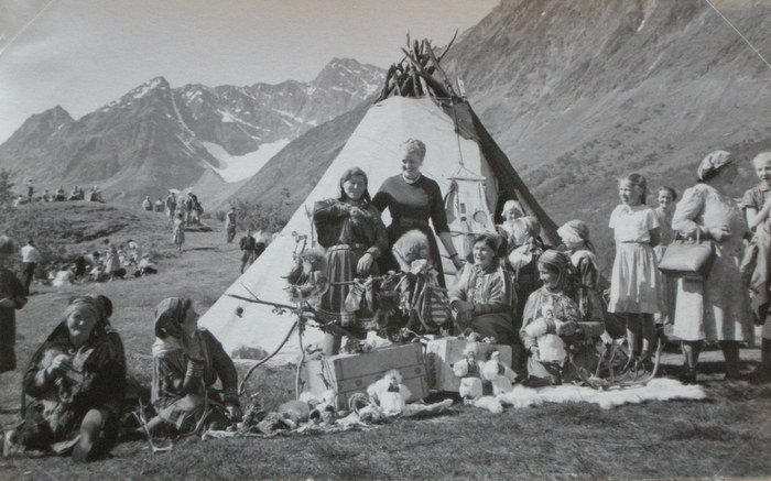 Teepee and natives with dolls. c1925