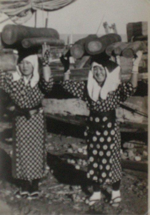 Korean Girls Carrying Wood. c1950
