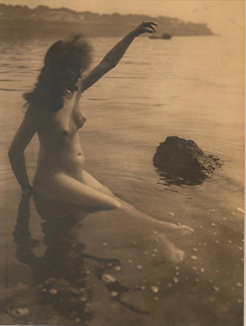 Baigneuse, hand signed nude gravure