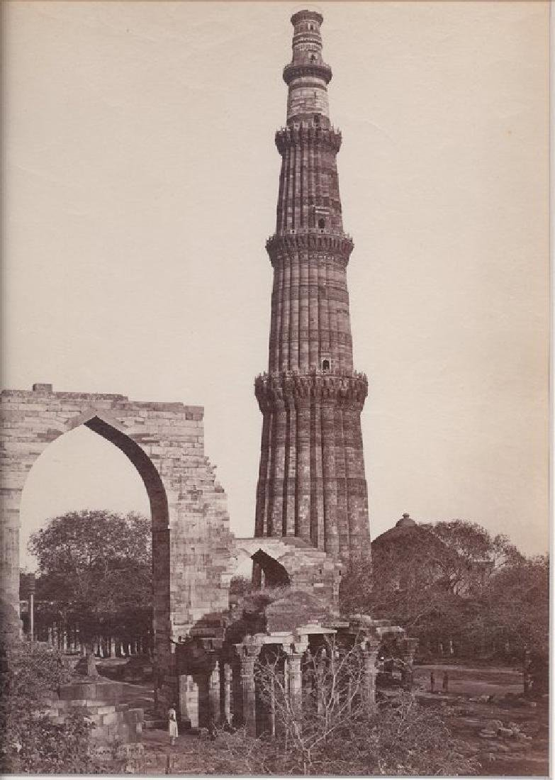Delhi - Kutub Minar with the Great Arch, from the West.