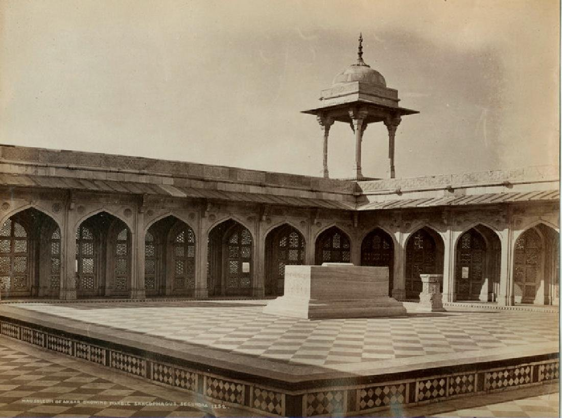 Mausoleum of Akbar, showing Sarcophegus, c1868