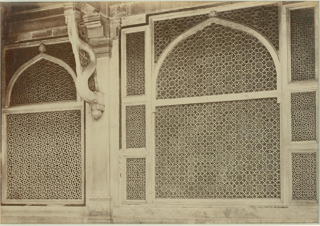 Futtypore Sikri - Two of the Marbled Screens. c1866