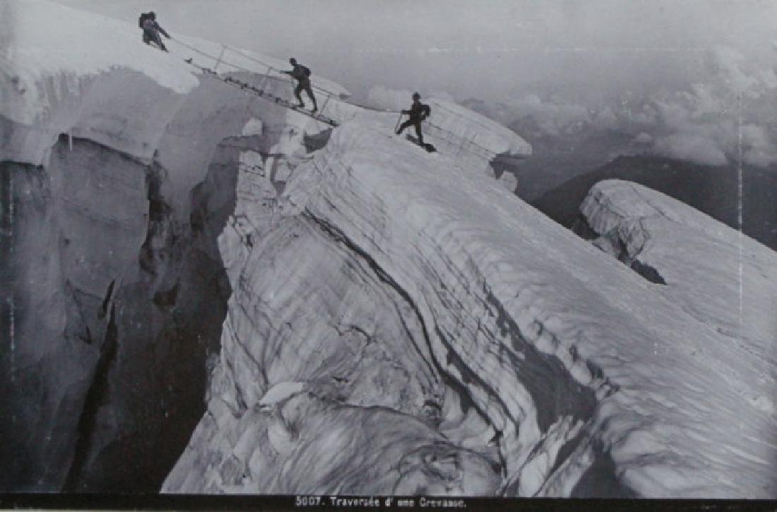 Photochrome Men traversing a Crevass. c1900