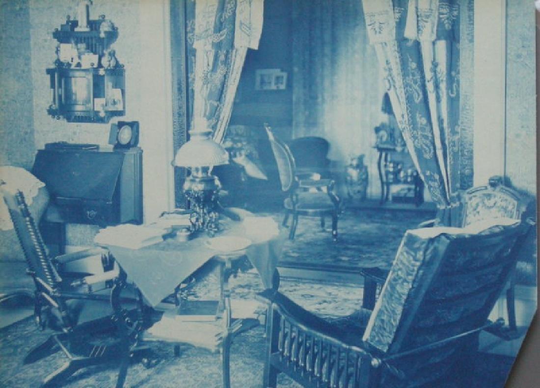Cyanotype of a Victorian interior. c1880