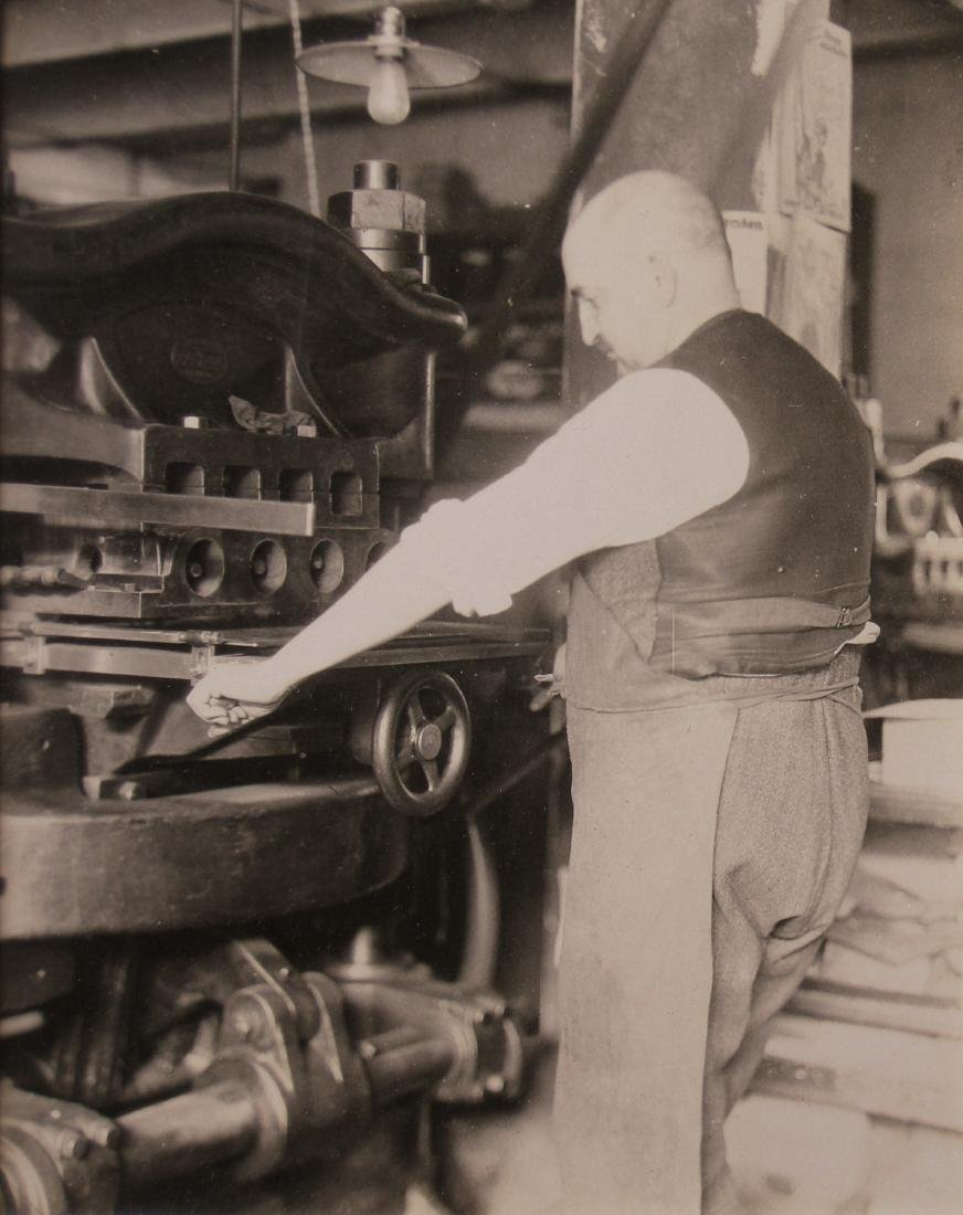 Man working heavy-duty Press. c1950