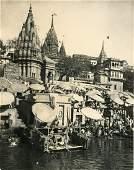 The Bathing Ghats, Benares (Varanasi), India. c1920