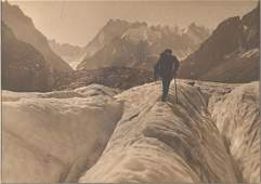 Walking over the Mer de Glace, Chamonix. c1920