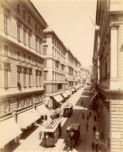 Street Scene in Genoa Via Roma c1890 by A Noack