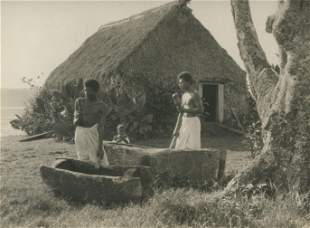 Fiji Natives gonging their dugout canoes c1925