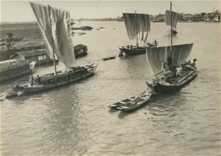 Sailing Boats on the Ishikard River Japan c1925