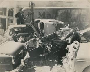 Car Crash Scene in Chinatown 8 Fatalities May 1955
