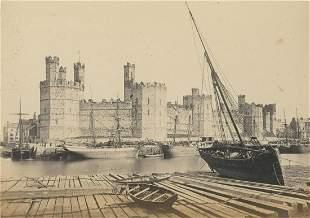 Ships tied up outside Carnarvon Castle Wales C1875